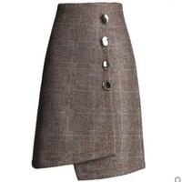 M 4XL!women winter thickening wool plaid bag hip skirt