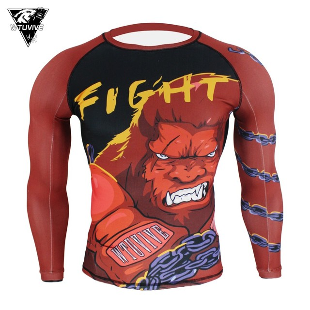 US $10 0 50% OFF|WTUVIVE MMA Red boxing gorilla ferocious fighting fitness  jersey tiger muay thai Boxing jerseys fight wear short muay thai sanda-in