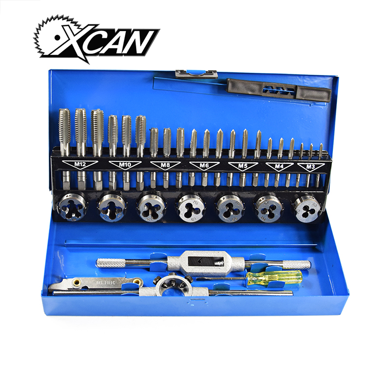 XCAN 32pc Metric M3-M12 tap and die set maintaince hand tool tap and die set wrench for metalworking цена