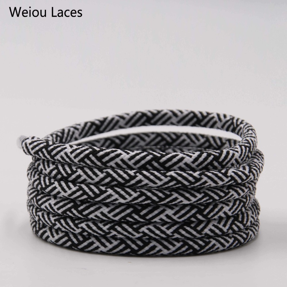 Weiou Exclusive Spiral HUMAN RACE Round Rope Laces 4.5mm Width Two Color Blend Featuring Transparent Plastic Aglet Tips Shoelace
