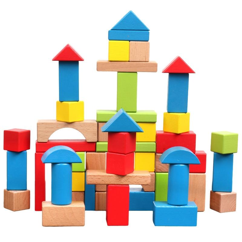 Blocs de géométrie en bois de hêtre pour enfants 50 pièces blocs de couleur jouets Montessori éducation précoce apprentissage jouet en bois de haute qualité