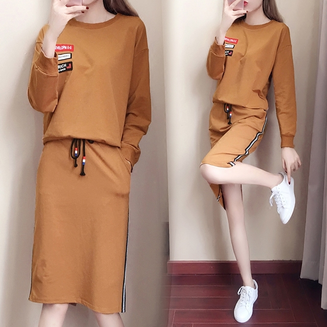 ed48bef988 big yards dress 2018 spring new korean fashion hoodies skirt casual suit  women skirts outfit 2 pcs clothing set vestidos XL-5XL