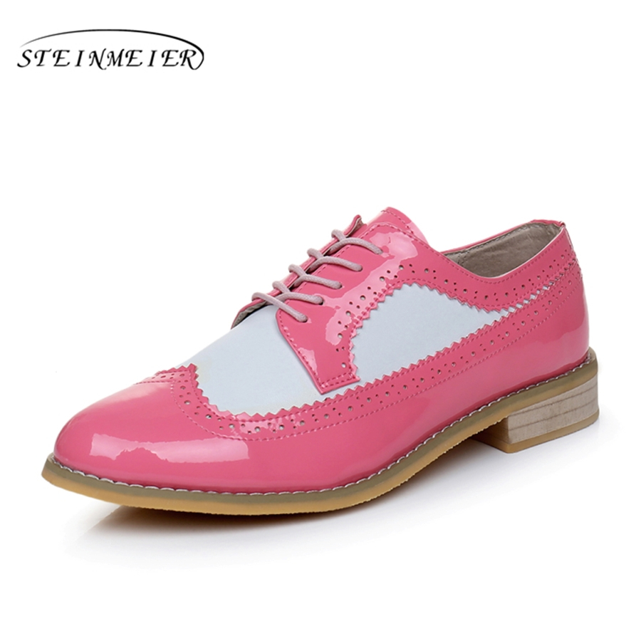 Cow leather big woman US size 11 designer vintage flat shoes round toe handmade Pink White