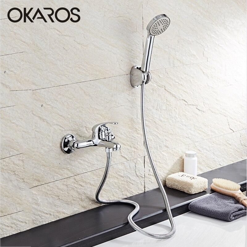 OKAROS 1 Set mitigeur classique en laiton massif robinet de salle de bain robinet de douche robinet mitigeur d'eau chaude froide avec pomme de douche ronde ABS