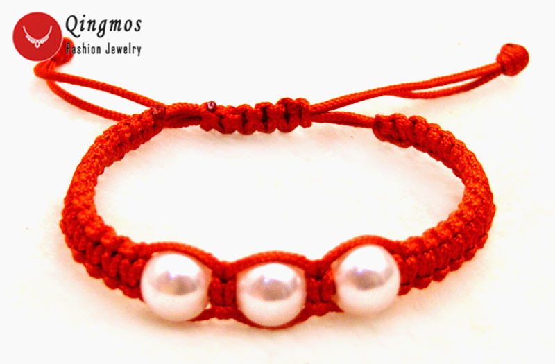 Qingmos 9-10mm White Sea Shell Pearl Bracelet for Women with Red China Silk Handwork Weave 6-10