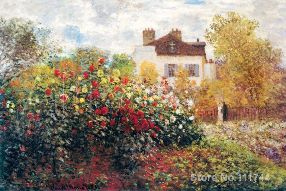 The Artists Garden Claude Monet Paintings For Sale Landscape Art Handmade  High Quality(China)