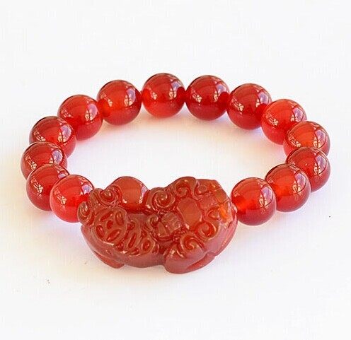 Red Agate Stones Pi Yao Charm Jade Bracelets Meaning Chinese Pixiu Good Lucky Carved Jewelry