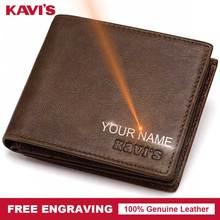 KAVIS кошелек из натуральной кожи с бесплатной гравировкой, Мужской подарочный Кошелек для монет, мужской кошелек, портфель, карман для денег, Perse Walet, любое имя DIY