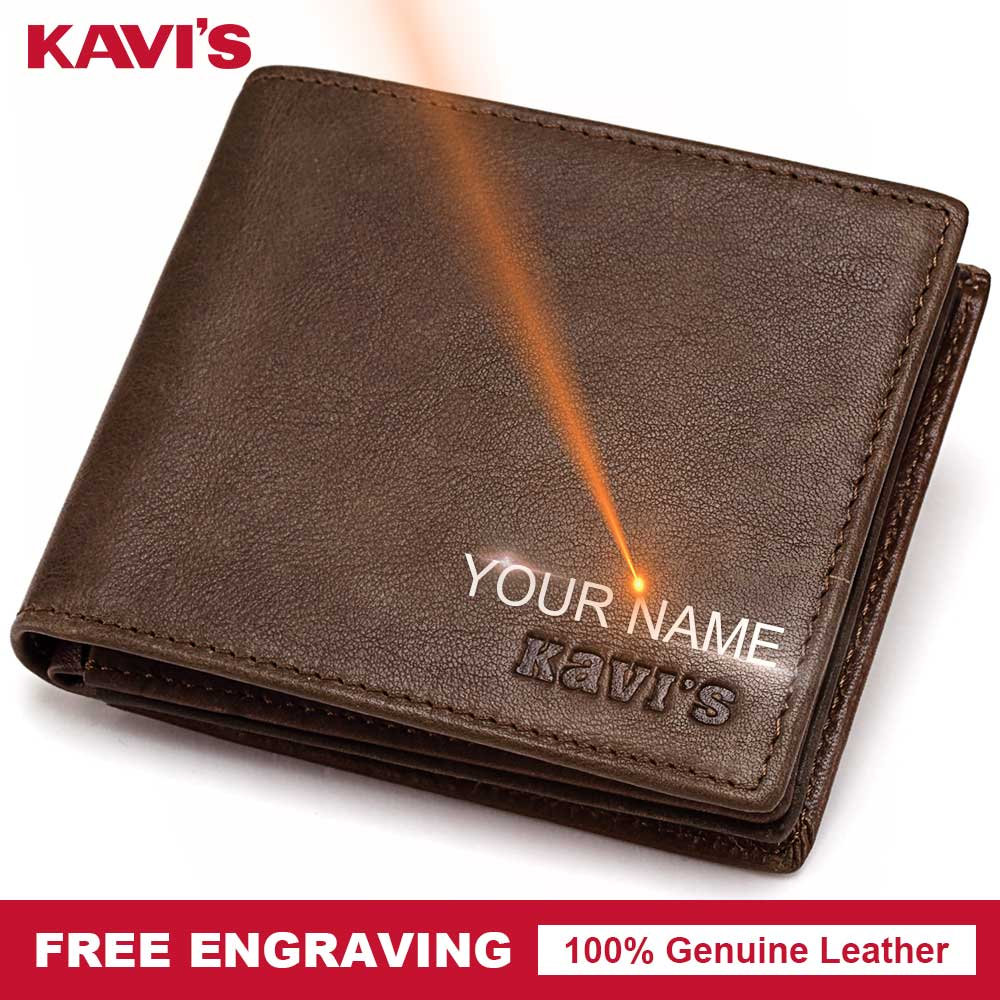 KAVIS Free Engraved Genuine Leather Wallet Men Coin Purse Gi