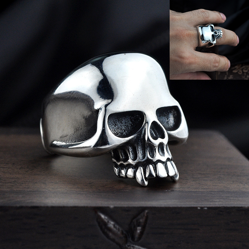 100% 925 Sterling Silver Skeleton Men Ring Punk Vintage Skull Male Adjustable Ring Fashion Thai silver Jewelry Birthday's Gifts thailand imports skull blood new skeleton silver ring