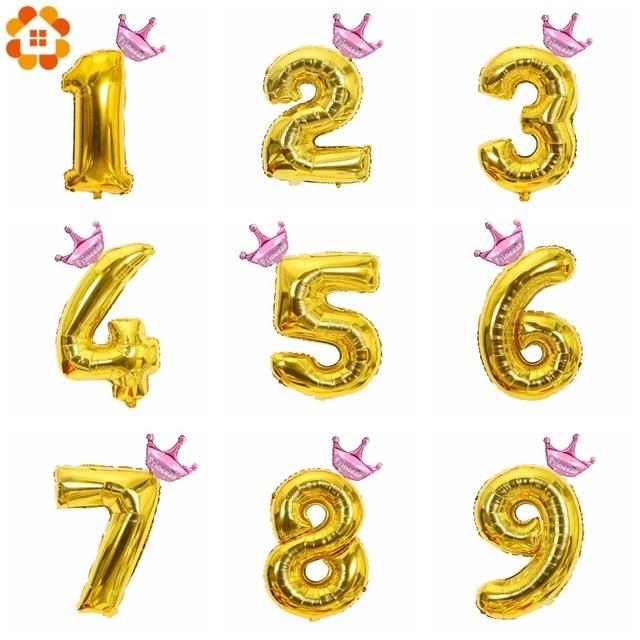 1 компл. 32 дюйма цифры золото число Корона Фольга воздушный шар плавать Air надувные шары для DIY мальчики девочки День рождения украшения пользу