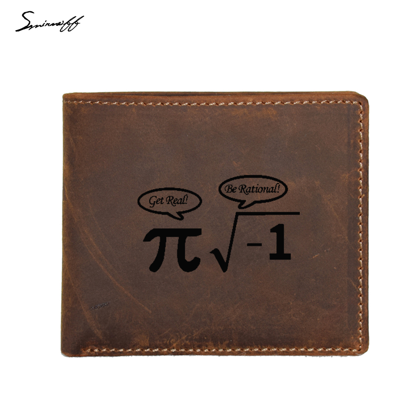 Smirnoff Engraved Logo Math Graph And Pi Wallet Men Genuine Leather Purses FRID Blocking Wallet Custom Name Coin pocket Purse