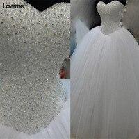 Luxury White Heavy Beaded Pesrla Princess Wedding Dress 2018 Real Photos Tulle Ball Gown Bridal Dress