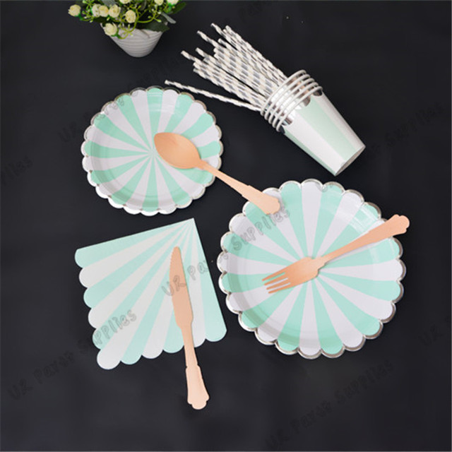 24 People Mint Silver Tableware set Scallop Paper Plates Dishes Light Green Cups Napkin wood Cutlery & 24 People Mint Silver Tableware set Scallop Paper Plates Dishes ...