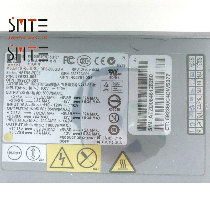 DPS 800GB SPN: 403781 001 P/N: 379123 001 GPN: 380622 001 OPN: 399771 001 800 W 12 V 80A 47 62Hz pour DL380G5 Deuxième Main 90% Nouveau - 3