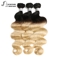 Joedir Peruvian Hair Body Wave Extension 3 Pcs Remy Bundles Deal Ombre Blonde Human Hair Weaves With Bundles Free Shipping