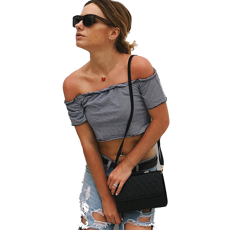 Streetwear Women Sexy Casual Off Shoulder Tank Top Vest Blouse Short Tops Ladies Shirt 2019 Summer Striped Shirts Plus Size XXL in Blouses amp Shirts from Women 39 s Clothing