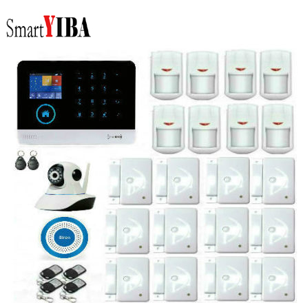 SmartYIBA Russian Spanish English German Wireless APP Control Home Burglar Security LCD Touch Keyboard WIFI GSM Alarm System wireless sim gsm home rfid burglar security lcd touch keyboard wifi gsm alarm system sensor kit english russian spanish french