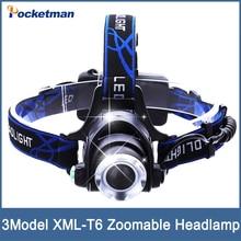 LED Headlight CREE T6 led headlamp zoom 18650 Head lights head lamp 4000lm XML-T6  zoomable lampe frontale