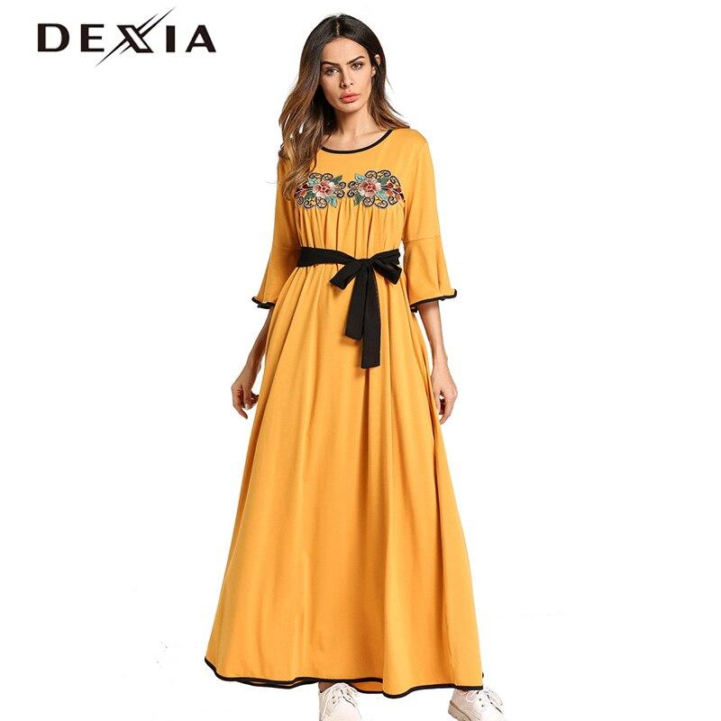 Dexia Flare manches musulman Robe grande taille 4XL Robe femmes bohème fleur printemps fête Maxi Floral ceintures jaune Robe Vadim 5769