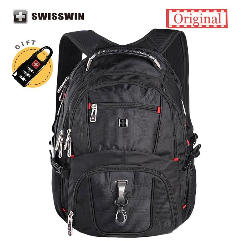 Swiss Laptop Backpack Men's Brand Backpack Classic Male Travel Backpack Waterproof Nylon School Bags for Teenagers Black male classic microfiber leather backpack