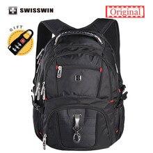 Swisswin Laptop Rucksack herren Marke Rucksack Klassischen Männlichen Reiserucksack Wasserdichtem Nylon Schultaschen für Jugendliche Schwarz