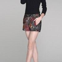 Корейские модные офисные женские шорты с цветочным принтом, средняя талия, облегающие брюки из овчины, женские прямые осенние из натурально