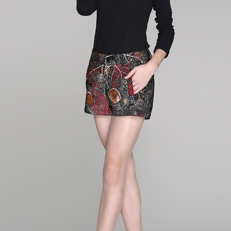Korean Fashion Office Lady Print Floral Shorts Mid Waist Slim Fit Sheepskin Trouser Female Straight Autumn Real Leather Feminino