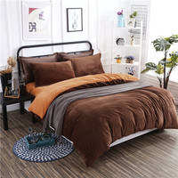 Winter New Arrival Warm Thick Flannel Bedding Set 4 Pcs Soft Solid Brown Orange Bed Sheet