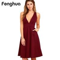 Fenghua Fashion Blackless Summer Dress Women 2017 Vintage Sexy Seeveless Dress Female Elegant Ball Gown Party