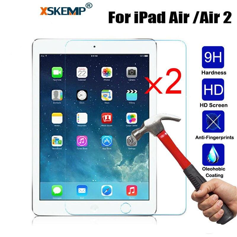 XSKEMP 2 шт./лот 9 H Настоящее закаленное Стекло для Apple iPad Air Air2 взрывозащищенный Царапинам Глянцевая Tablet экран протектор фильм
