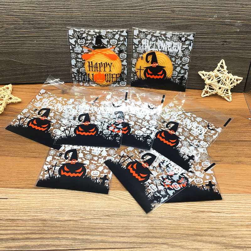 OHEART 100pcs Halloween Gifts Cookie Bag Candy Bread Packaging Bags Transparent Bag Pumpkin Ghost Plastic Party Decoration image