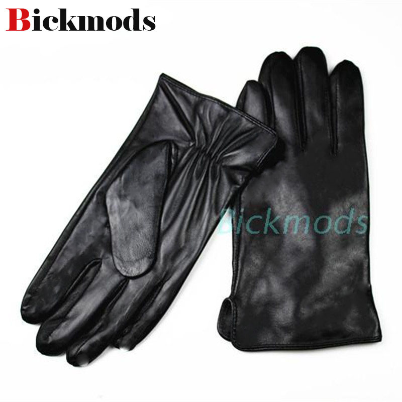Men gloves leather gloves sheepskin gloves thin silk lining straight style spring and summer driving gloves free shipping