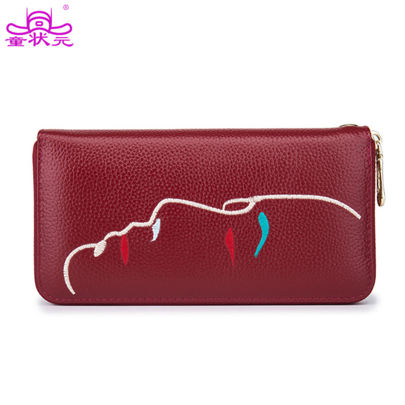 TZY Embroidery Genuine Leather Women Wallet Lady Long Card Holder Female 4 Colors Women Wallet Day Clutch