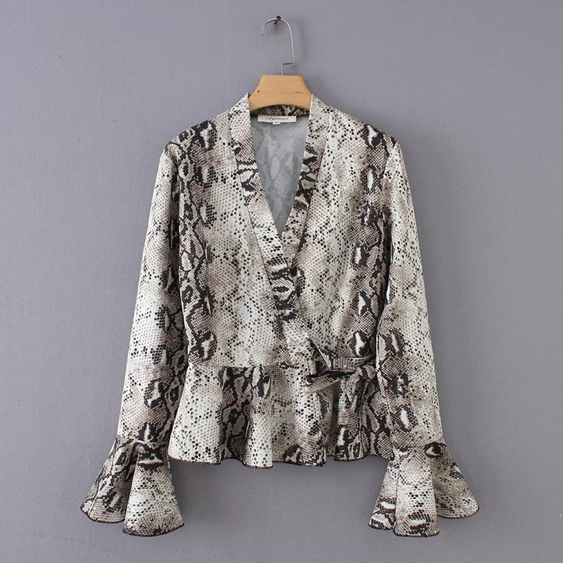 Aliexpress.com   Buy snake print v neck cross tie knot women shirt casual  lady flare sleeve oversize blouses fashion loose tops chemise blusas S3816  from ... 078d3757cb