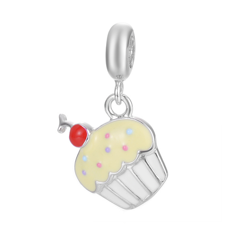 2017 Sweet Gift Distinctive Cheery Small Cake Design Pendant Jewelry For Bracelet Or Necklace S925 Sterling Silver Charm