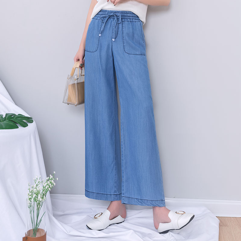 Blue Denim Wide Leg   Jeans   Women 2019 Summer Ankle Length Elastic Waist Lace Up Crop Palazzo Mom   Jeans   Plus Size Boyfriend   Jeans