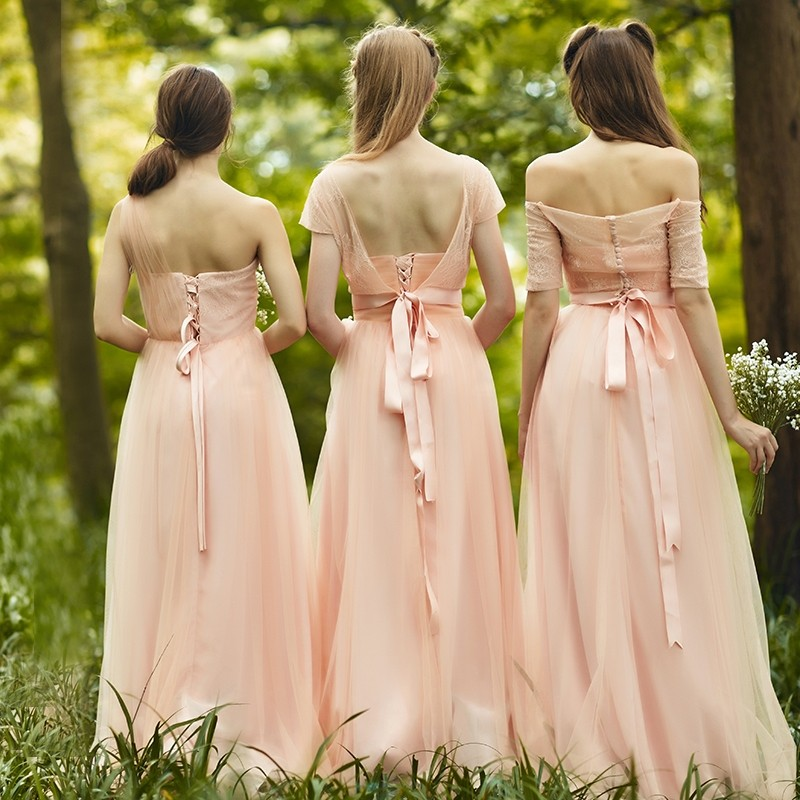 Elegant Boat Neck Half Sleeve Outer Tulle Inner Satin Long Nude Pink  Country Bridesmaid Dresses Three Styles Available Dama c96e703387e5