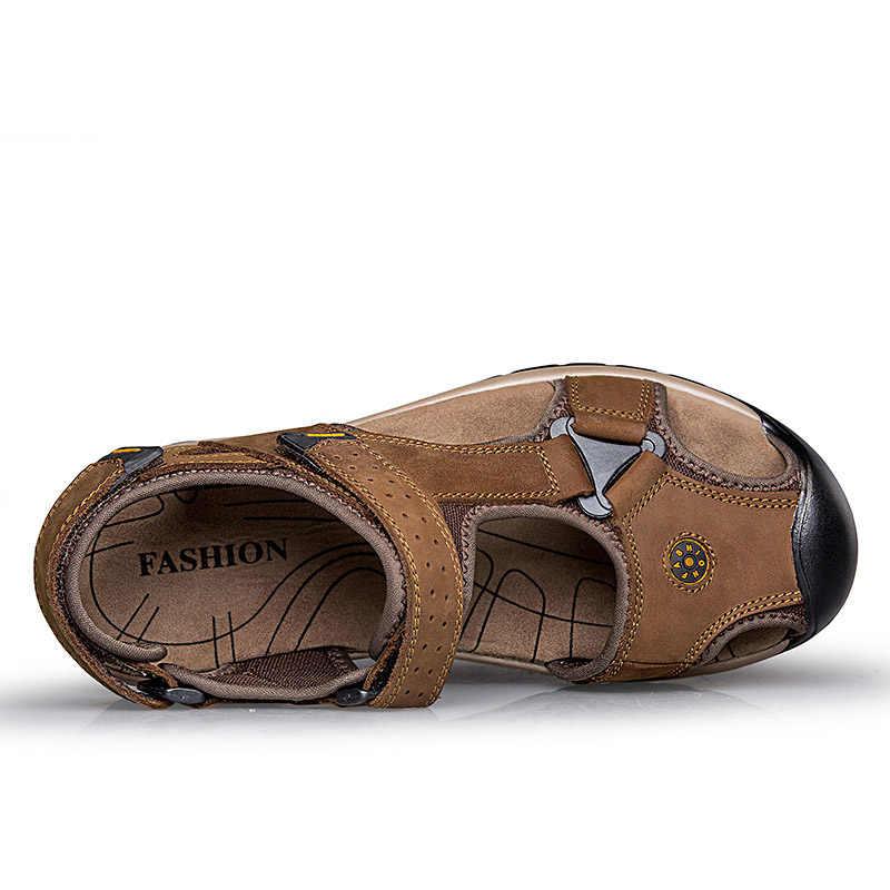 ROXDIA prawdziwej skóry męskie sandały letnie krowy skórzane nowe na plaży buty męskie męskie sandały gladiatorki 39-46 RXM048