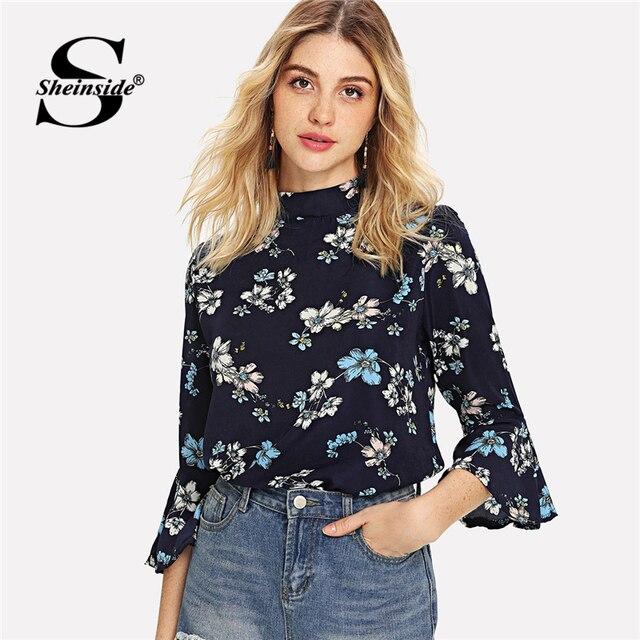 Aliexpress Com Buy Sheinside Floral Print Stand Collar Chiffon