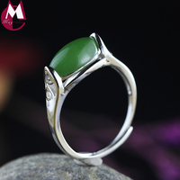 Natural Jasper Fashion Hollow Flower Pattern Green Stone Adjustable Ring Genuine 925 Sterling Silver Jewelry Girl