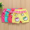 2016 muchachas Del Verano de los pantalones Cortos del bebé niños pantalones Casuales de la moda de Cartón Hello Kitty Estampado de flores de Encaje Cortos novio ama nununu
