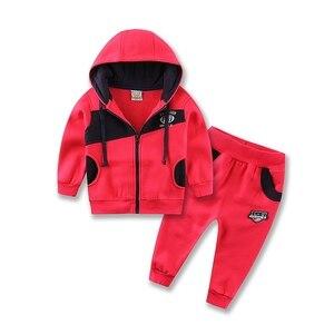 Image 2 - 2020 Little Q  hood zipper baby clothes set long sleeve fleece sweatshirt set male children sports outfits sweatshirt boys suits