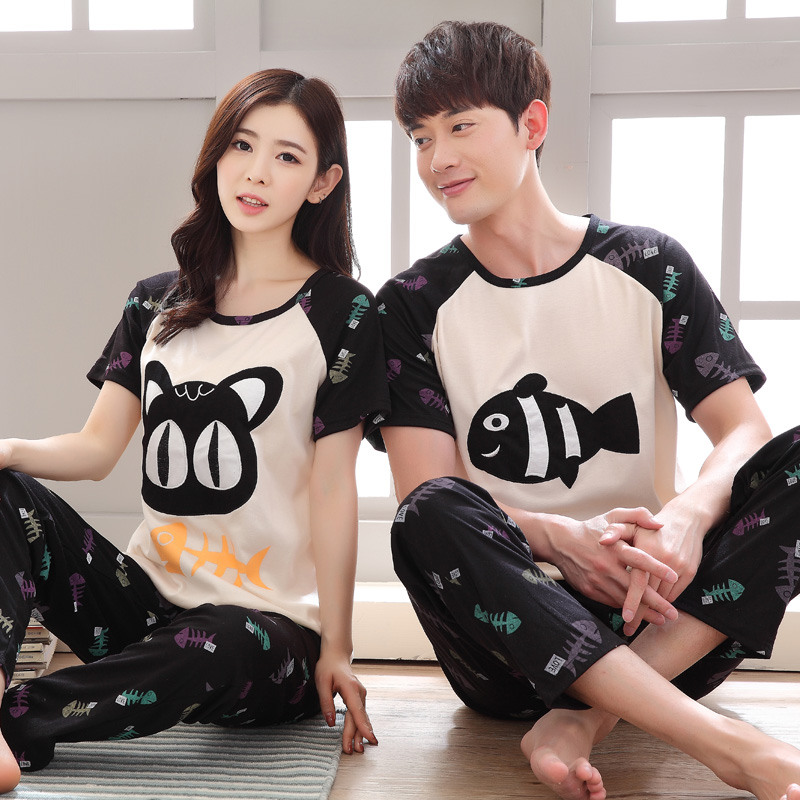 6b8741c188 Women s Pajamas Cotton Summer Couple Short Sleeve Sleepwear Pyjamas  Trousers Love Men And Women Sleep Lounge Pajama Set