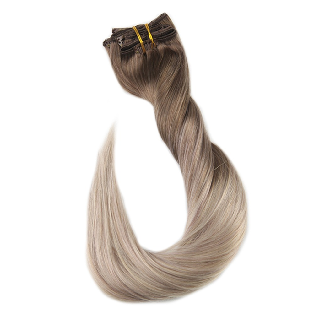 Full Shine Clip In Hair Extensions Human Hair100% Machine Made Remy Hair Color #8 Fading To 60 An 18 Ash Blonde 10Pcs Clip Ins