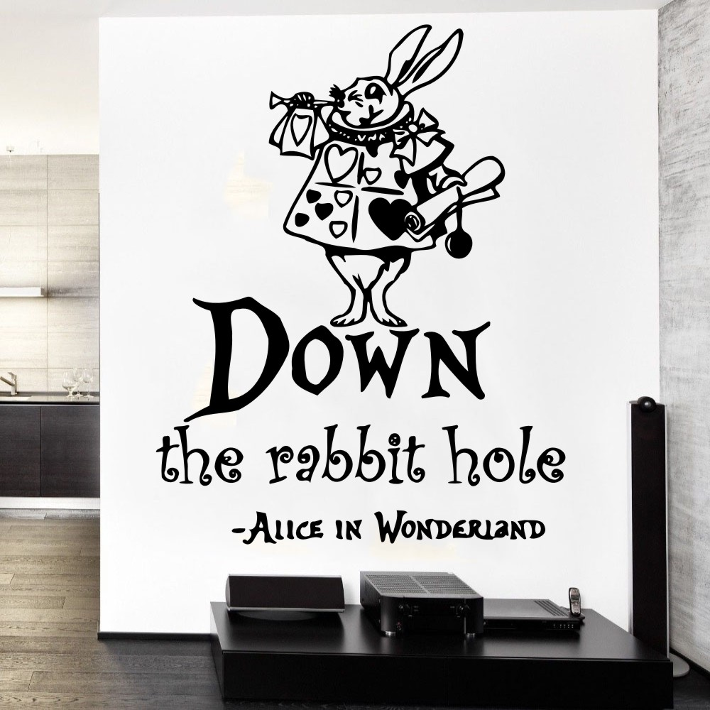Down The Rabbit Vinyl Quotes Wall Sticker Free Shipping Alice In Wonderland Saying Quotes Art Wall Mural Nursery Room Decory 884 Wall Sticker Quote Wall Stickerstickers Alice In Wonderland Aliexpress