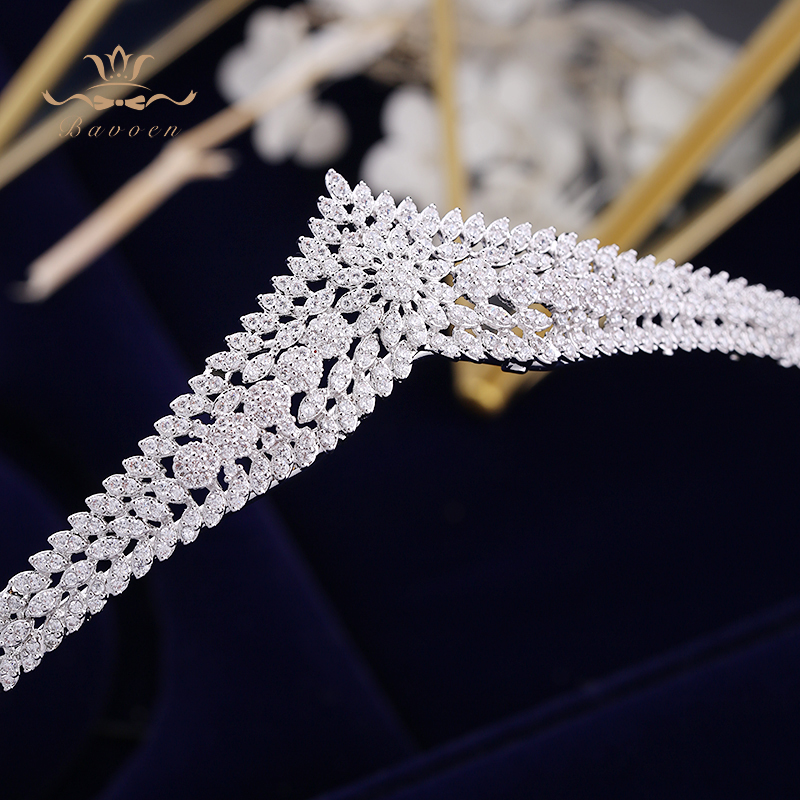 Image 4 - Korean Brides Sparkling Gold Wedding Tiaras Crowns Full Zircon  Bridal Hairbands Crystal Hair Accessories Wedding Hair JewelryHair  Jewelry