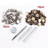 25 шт. серебро + 25 шт. бронза 15 мм Кнопки Металл + набор инструментов для изделий из кожи кожа