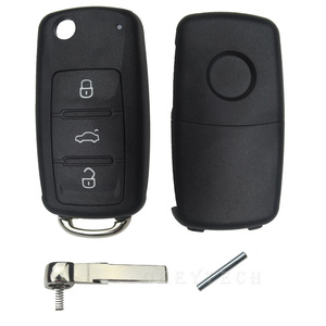 OkeyTech 3 кнопки флип чехол для дистанционного ключа от машины оболочка для Volkswagen VW Jetta Golf Passat Beetle Polo Bora Uncut Blade пустой брелок для ключей