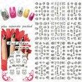 2015 NUEVO 50 Unids/lote 3D HBJY 073-084 Profesional de Manicura 3D etiqueta Negro Ratón Princesa Oso de Dibujos Animados etiqueta engomada del clavo
